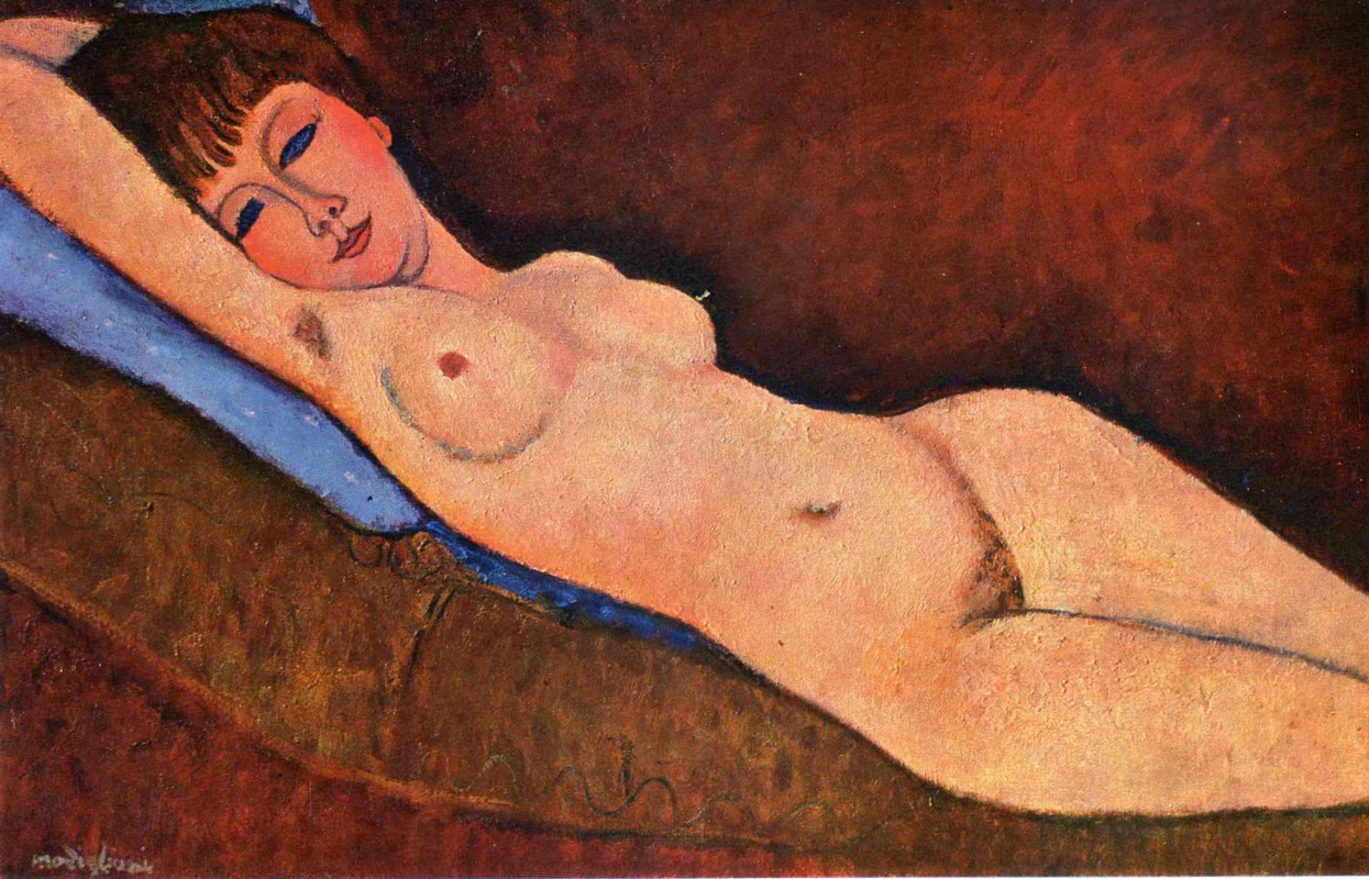 Amedeo Modigliani. Reclining Nude with blue cushion