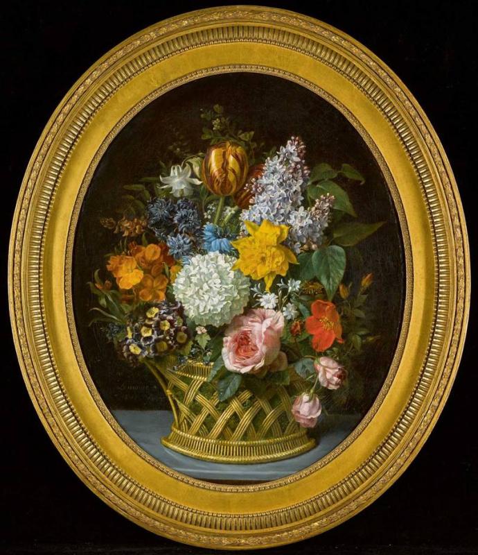 Мари-Виктуар Лемуан. Букет весенних цветов в корзине