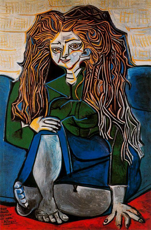 Пабло Пикассо. Портрет мадам Элен Пармелен на зеленом фоне