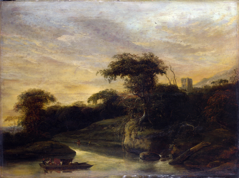 Яков де Вет. Пейзаж с рекой у подножия холма