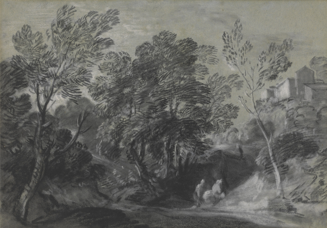 Томас Гейнсборо. Лесной пейзаж с фигурами и домами на холме