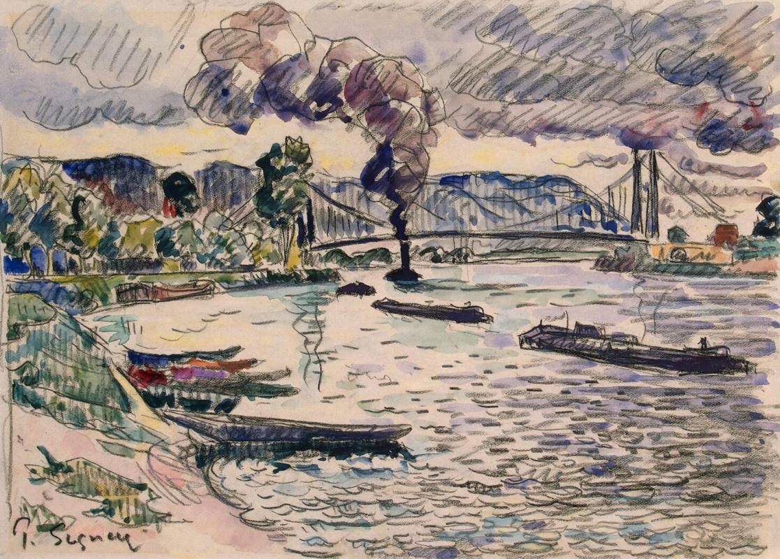 Поль Синьяк. Подвесной мост или Баржи и буксир на реке