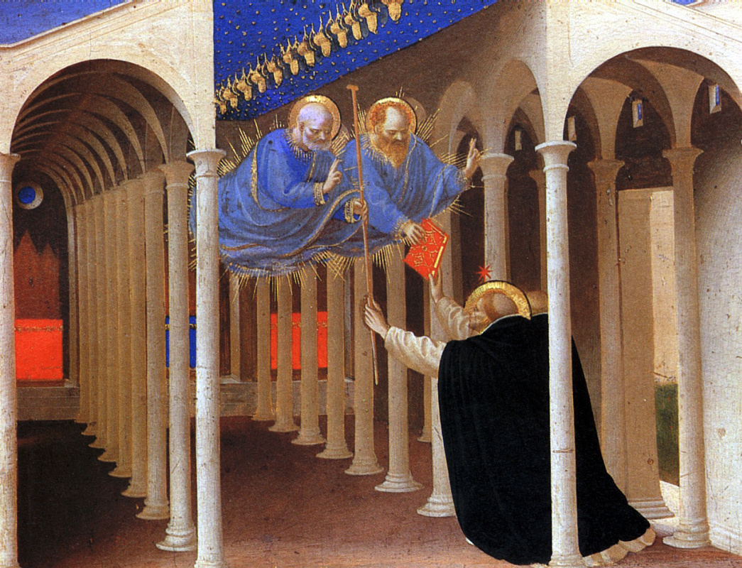 Фра Беато Анджелико. Святые Петр и Павел являются Святому Доминику