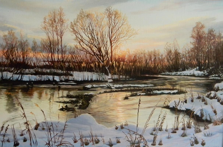Yuri Alexandrovich Zosic. Dawn on the river in winter