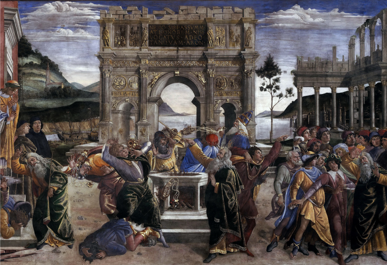 Sandro Botticelli. The punishment of the rebellious Levites