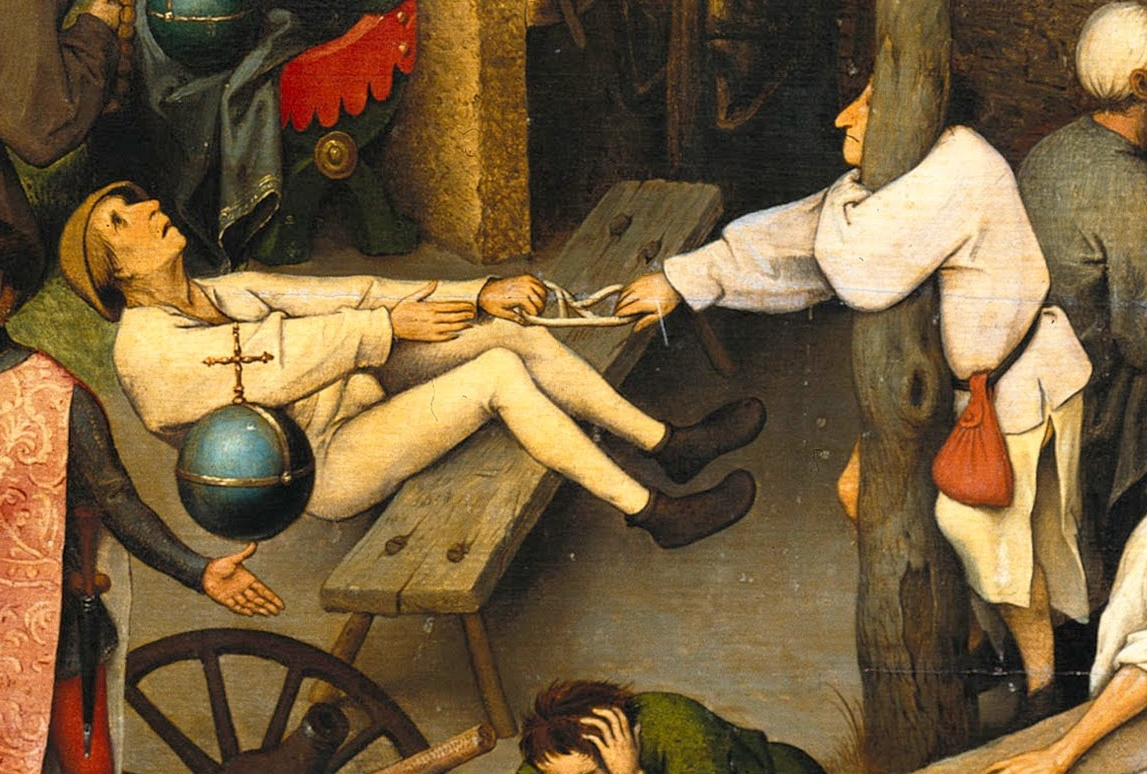 Pieter Bruegel The Elder. Flemish proverbs. Fragment: Love is where money bags hang - love can be bought. Pull to take hold of the long end of the rope - try to get the benefits