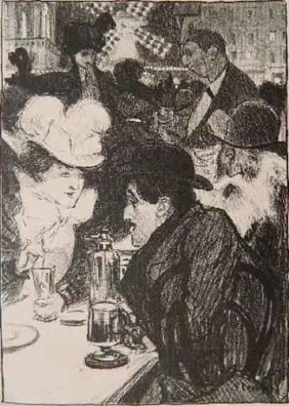 Theophile-Alexander Steinlen. In a cafe