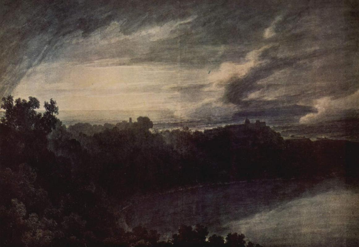Джон Роберт Козенс. Вид озера с замком Гандольфо на заходе солнца