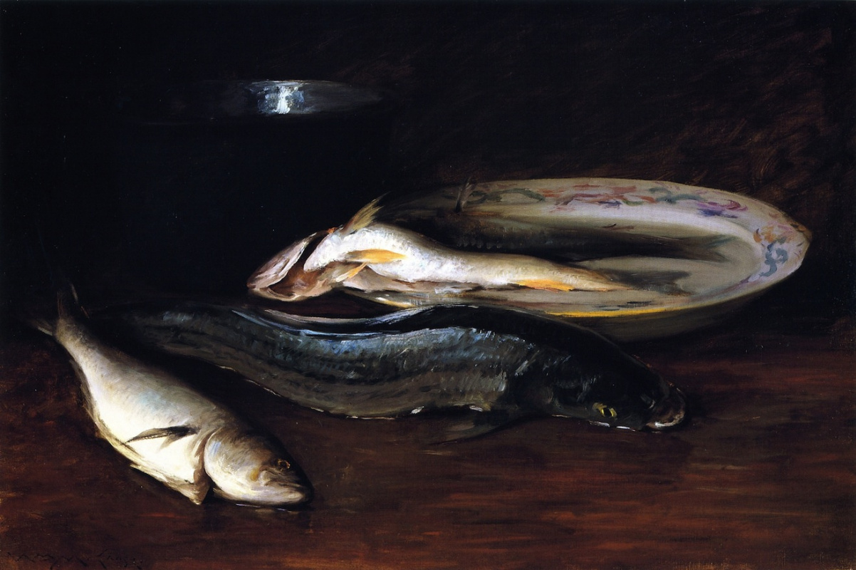 William Merritt Chase. Still life with fish and plate