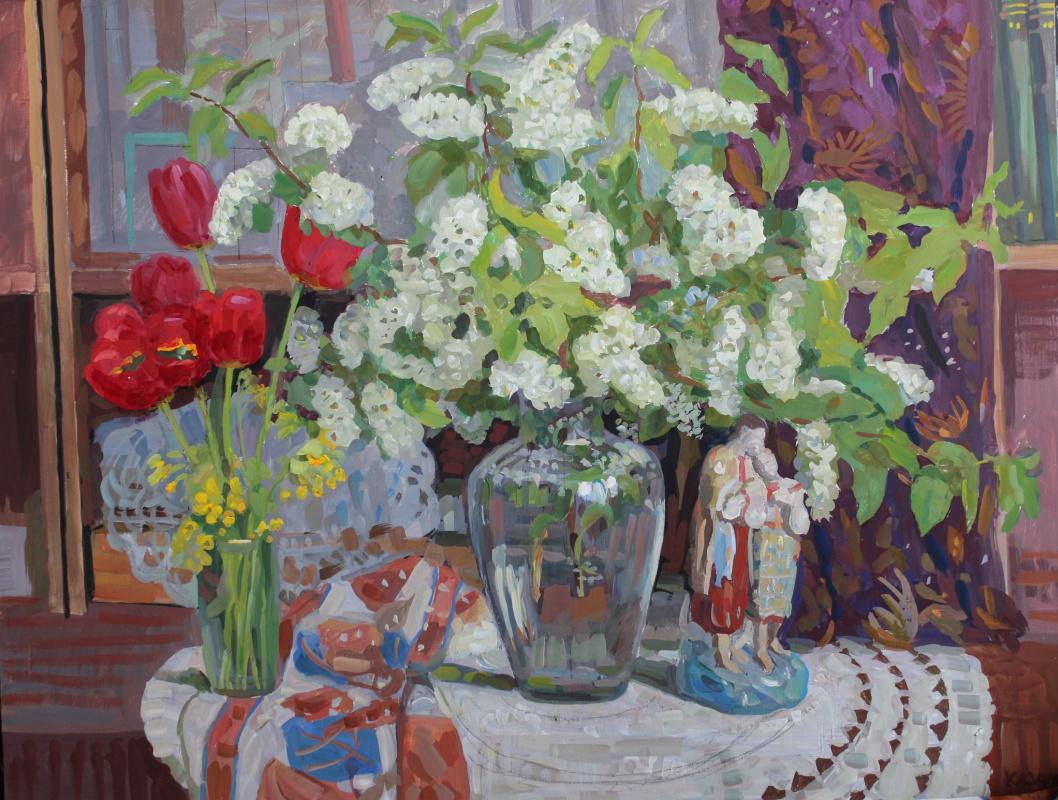 Eugene Alexandrovich Kazantsev. Still life bird cherry, tulips.