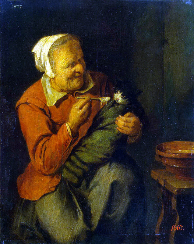 Давид Рейкарт. Крестьянка с кошкой