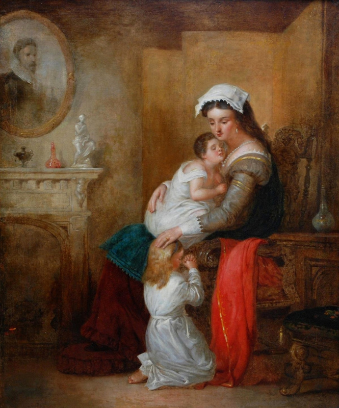 Beehives Powell Fright Great Britain 1819-1909. Mother with baby in the interior. Private collection