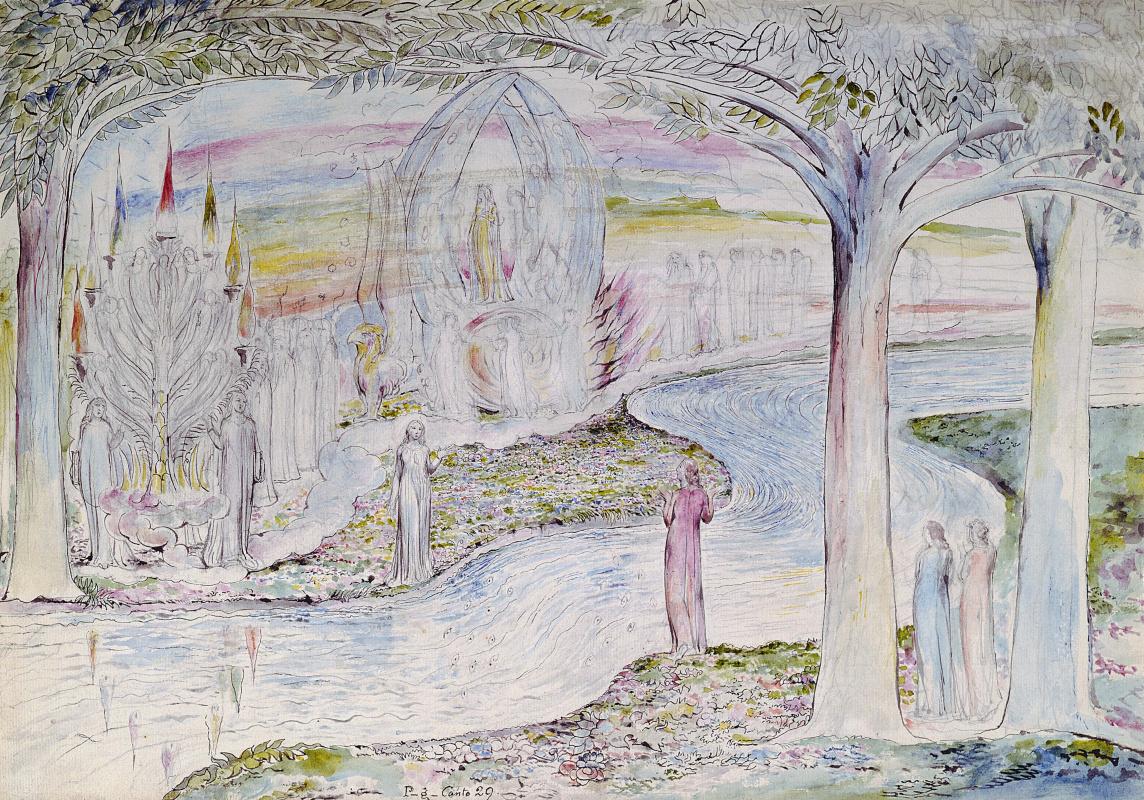 """Уильям Блейк. Беатриче в колеснице с Матильдой и Данте. Иллюстрации к """"Божественной комедии"""""""