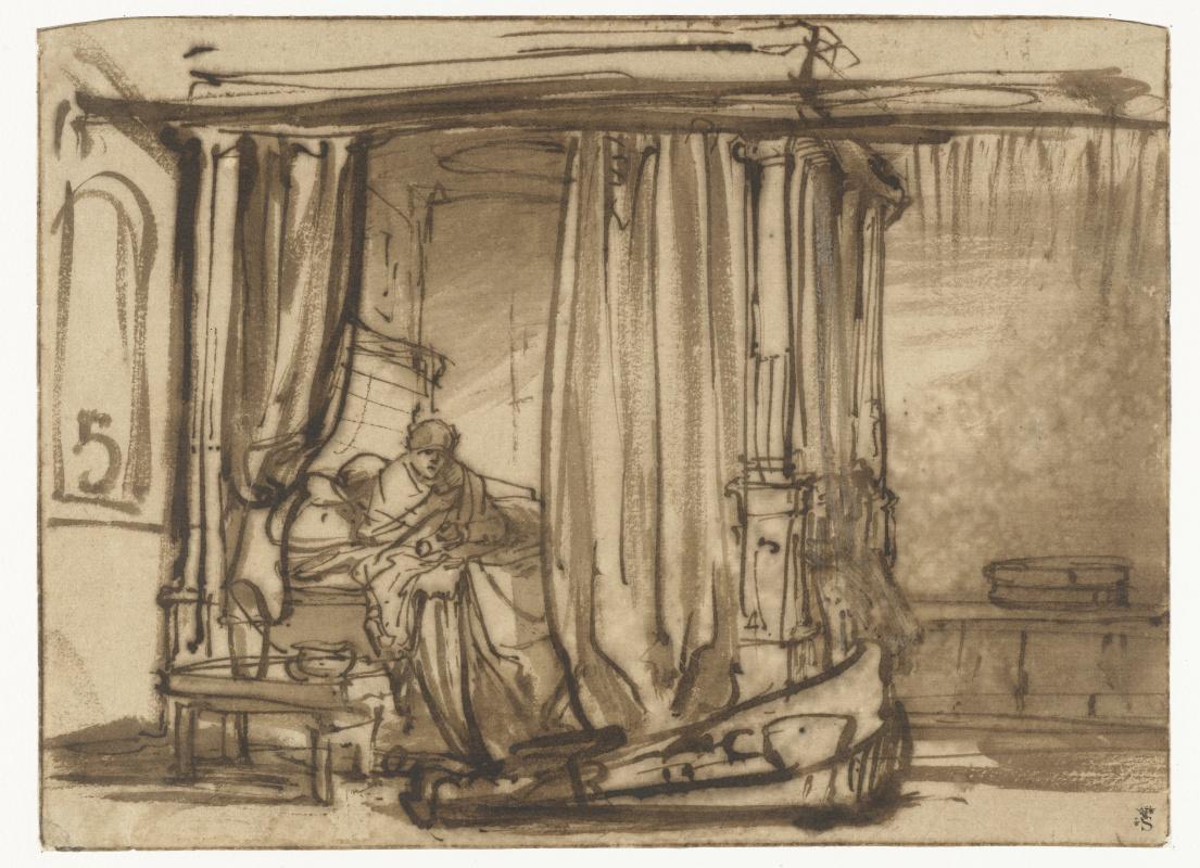 Rembrandt Harmenszoon van Rijn. Bedroom with Saskia in bed