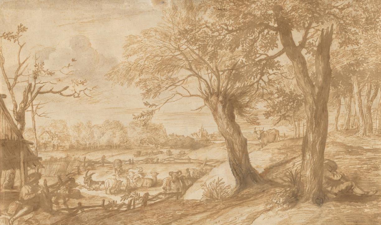Ян Ливенс. Пейзаж с пастухом и стадом