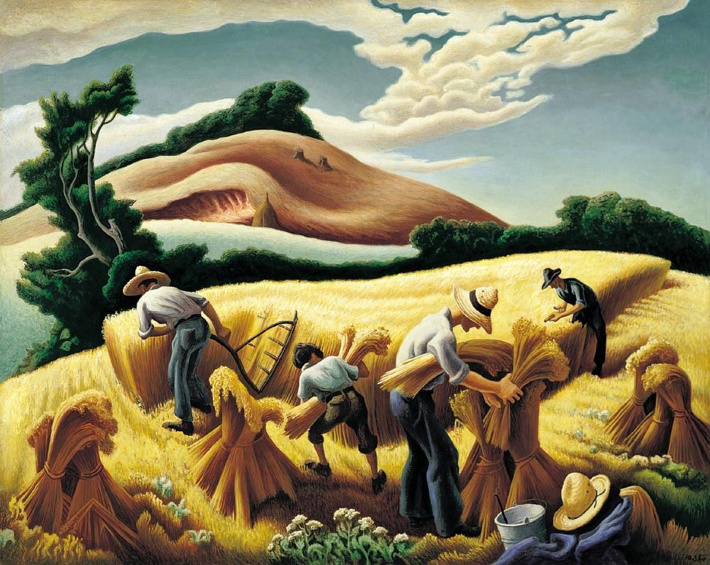 "an analysis thomas hart bentons art work cradling wheat Cradling wheat , by thomas hart benton, 1938 ""i don't know whether it's art or not and i don't care what i want to show is the energy and rush and confusion."