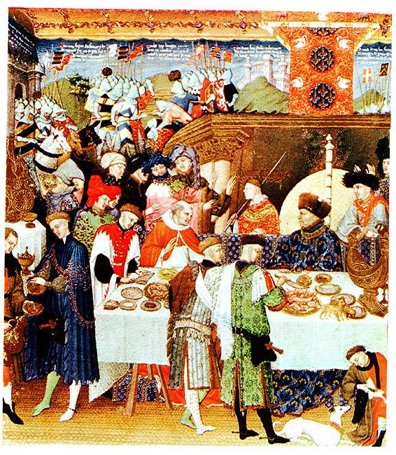 Дюк де Берри. Январь (фрагмент). Герцог изображён сидящим за столом в синей робе