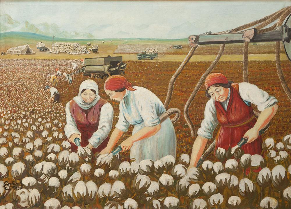 Abylkhan Kasteevich Kasteev. Picking cotton
