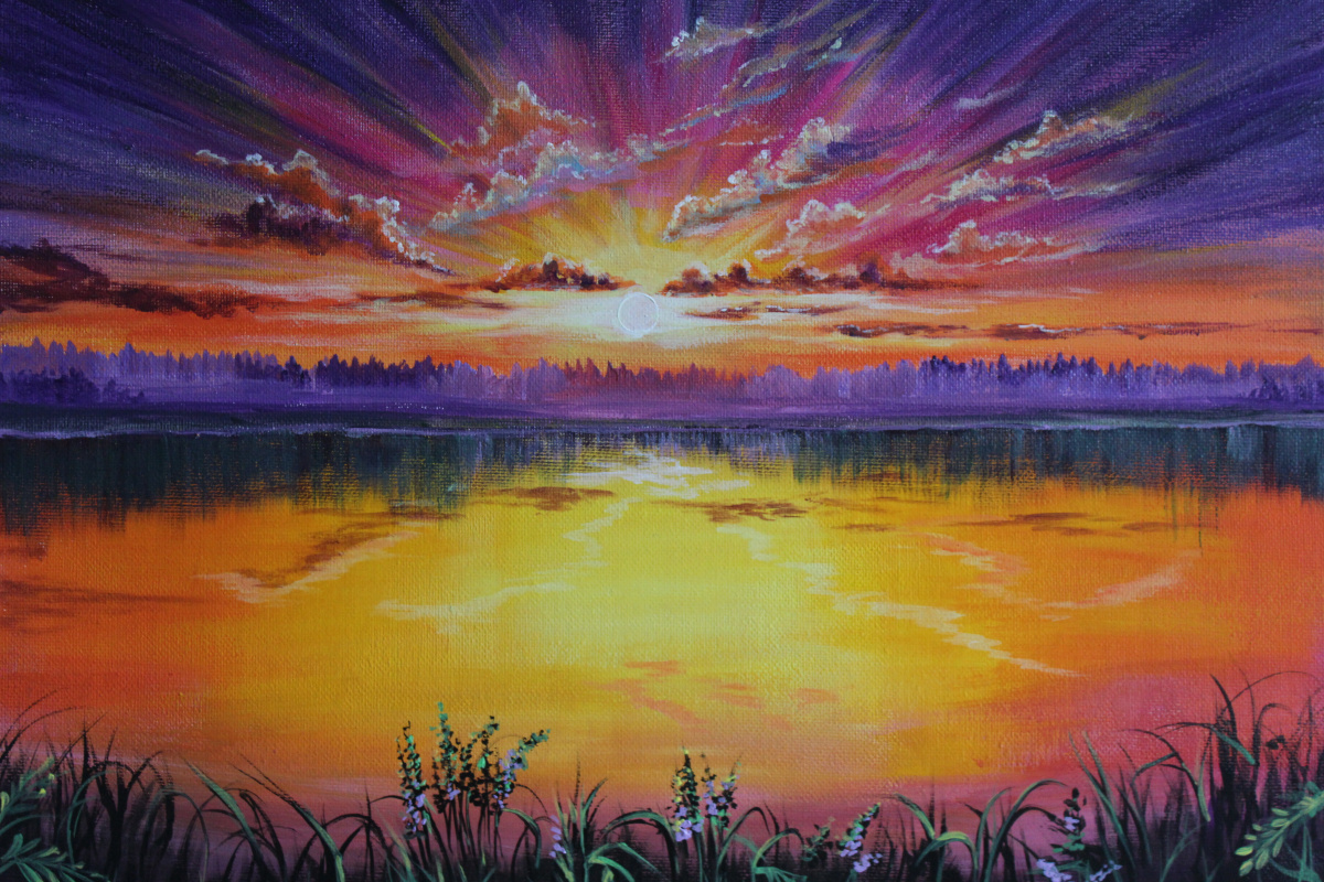 Margarita Ishkova. Lake at sunset