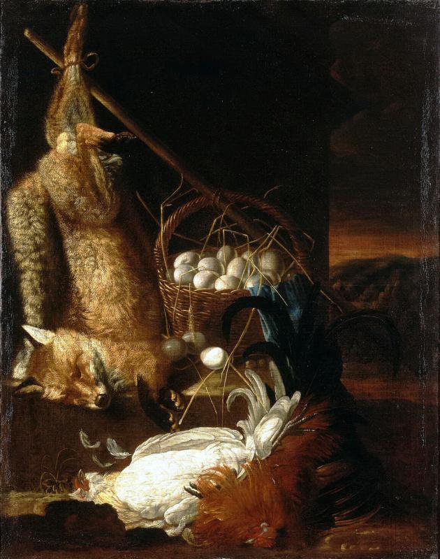 Натюрморт с битыми петухами и лисицей