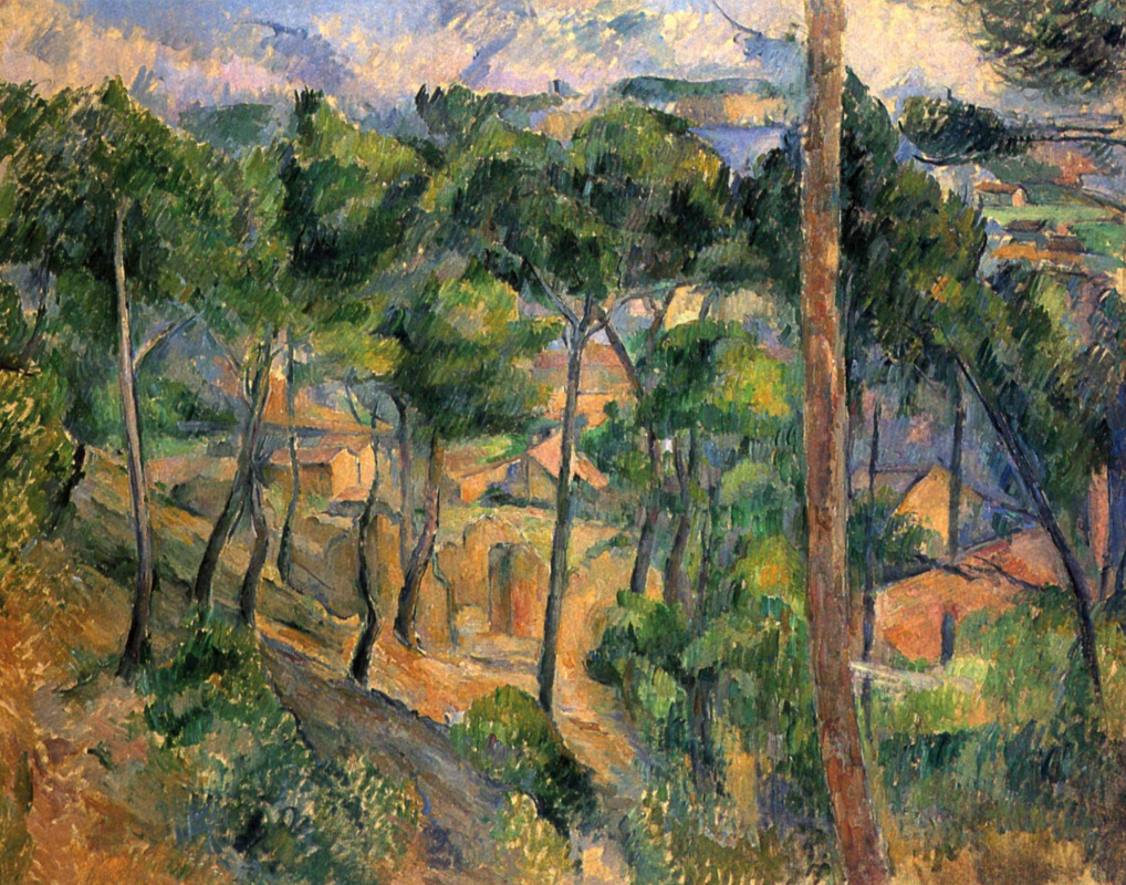 Paul Cezanne. View on the l'estaque through the pine trees.