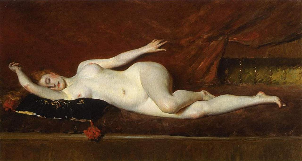 William Merritt Chase. A study in curved lines. Nude model