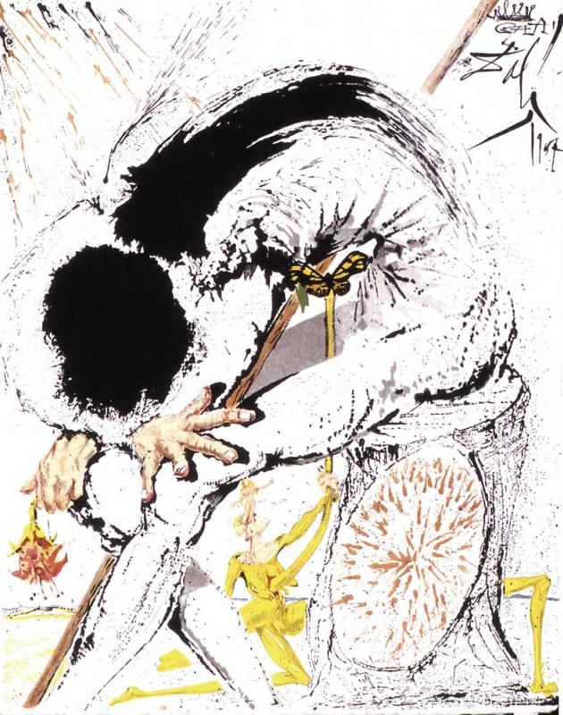 "Salvador Dali. Don Quixote in despair (illustration for the novel ""don Quixote"")"