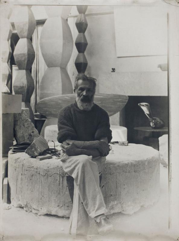 Constantine Brancusi. Constantin Brancusi in his workshop.