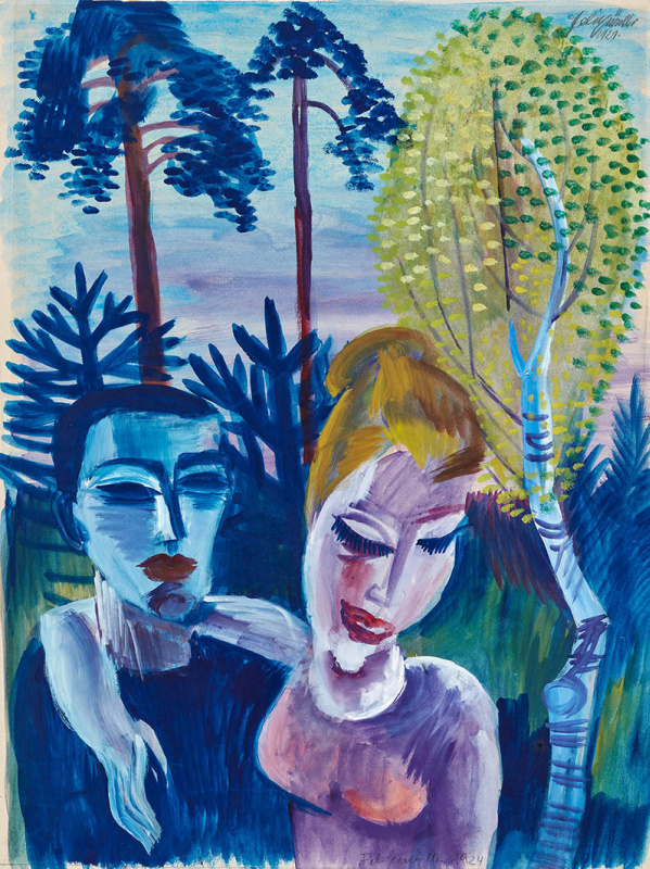 Conrad Felixmüller. Couple before Landscape