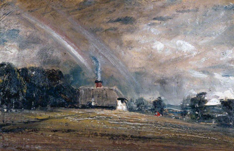 John Constable. Rainbow over the cottage. Sketch