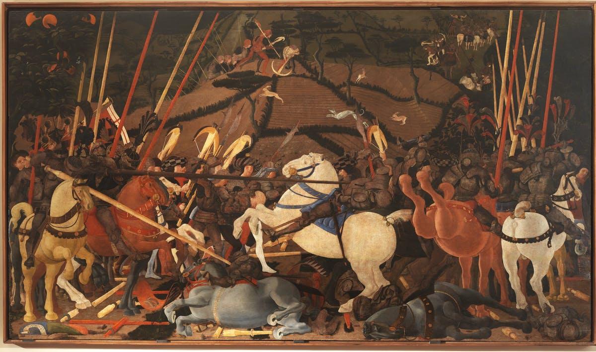 Паоло Уччелло. Битва при Сан-Романо. Поражение Бернардино делла Карда