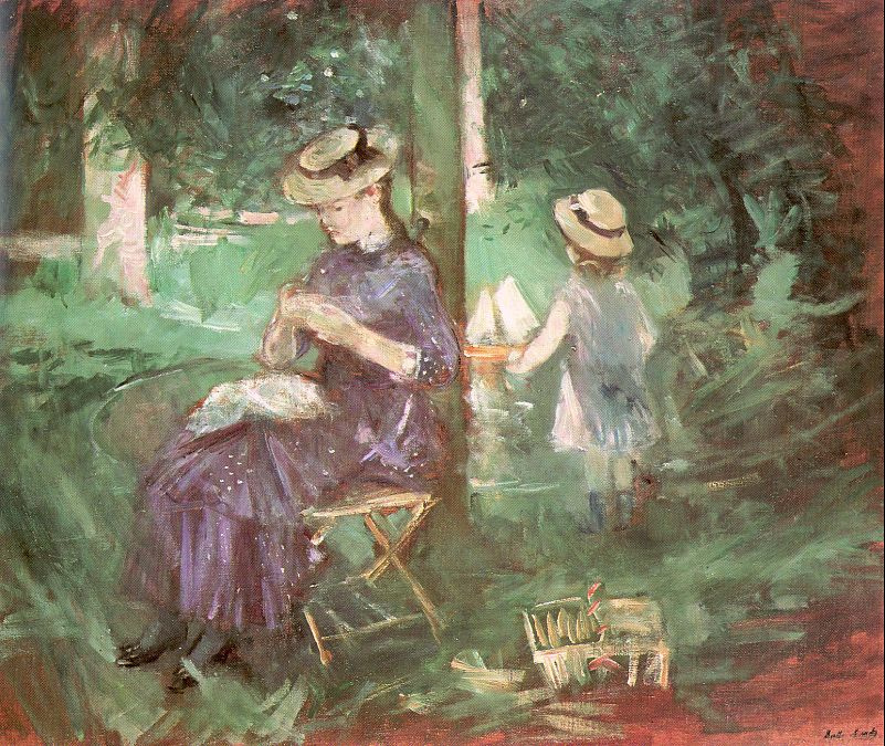 Берта Моризо. Дама с ребенком в саду