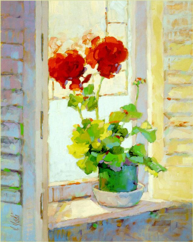Красные цветы на подоконнике