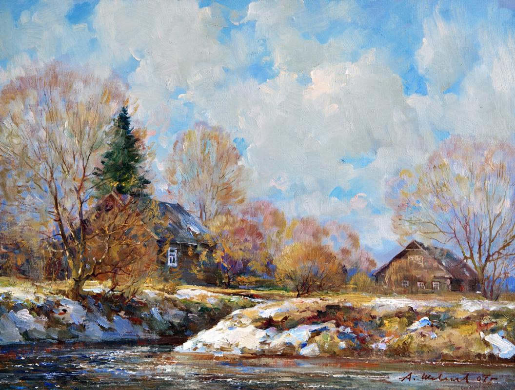 Alexander Victorovich Shevelyov. Thaw. Oil on canvas 34.5 x 44.5 cm. 2007