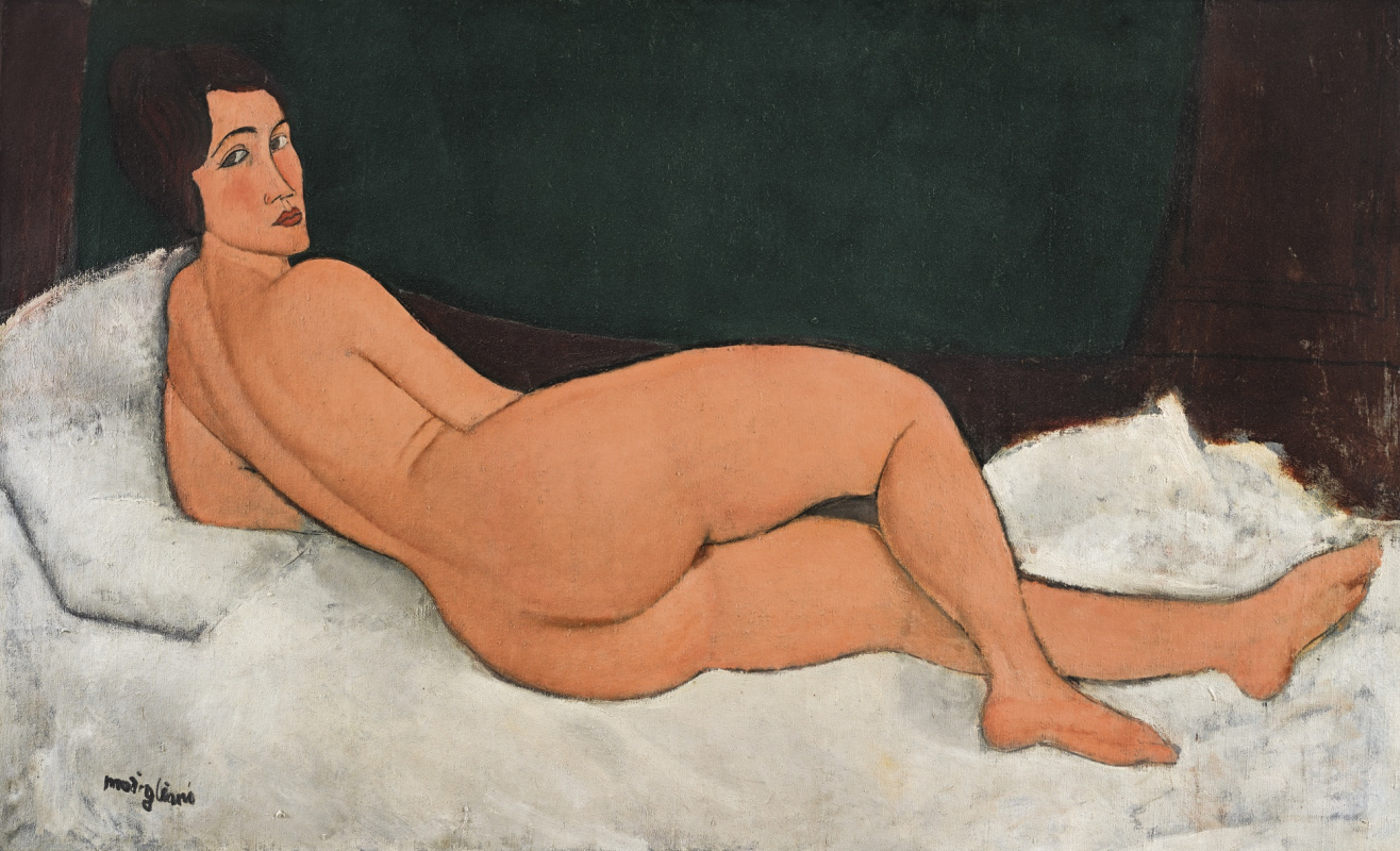 Amedeo Modigliani. Reclining Nude (on her left side)