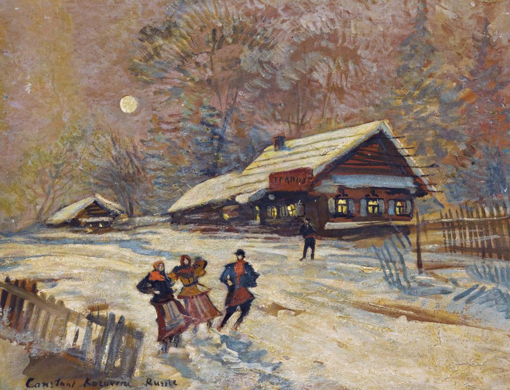 Konstantin Korovin. Revelers near the tavern