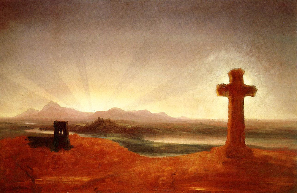 Thomas Cole. Cross at sunset