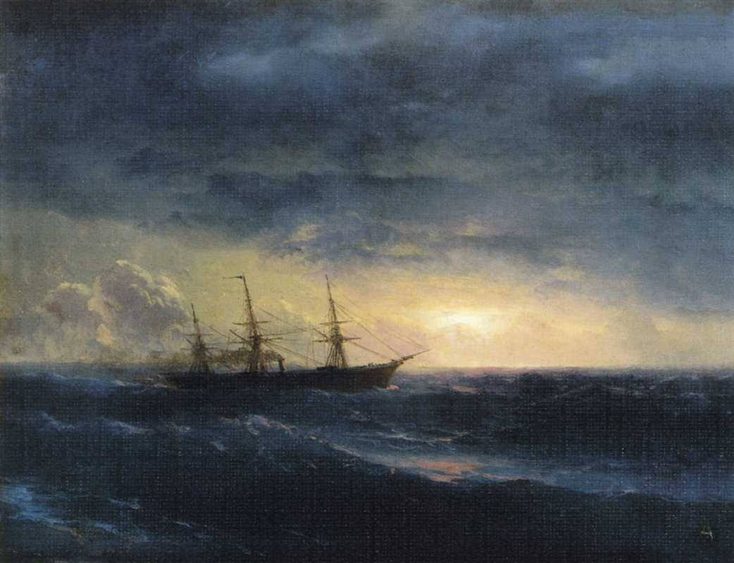 Ivan Aivazovsky. The cruiser in the sea at night