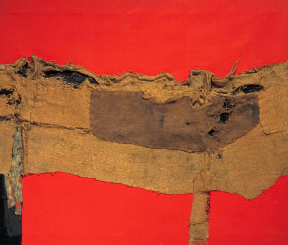 Alberto Burri. Burlap and red
