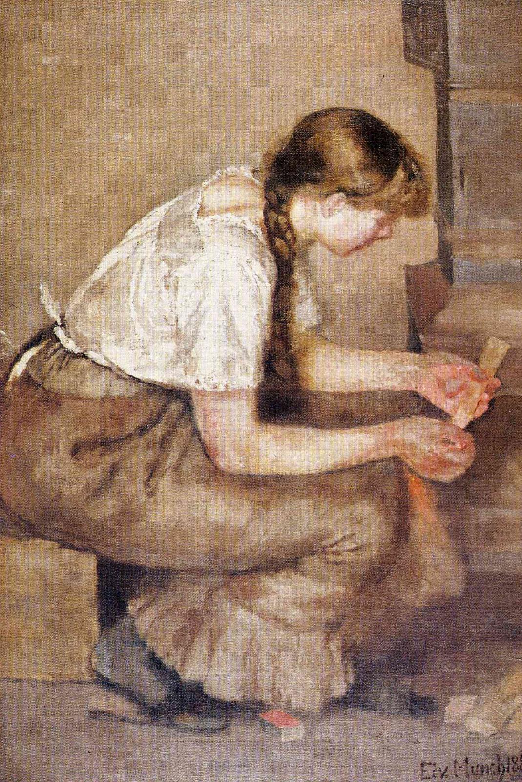 Эдвард Мунк. Девушка, разжигающая печь