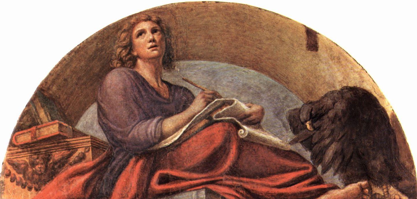 Антонио Корреджо. Фрески церкви Сан Джованни Евангелиста в Парме, люнет, сцена: св. Иоанн Евангелист