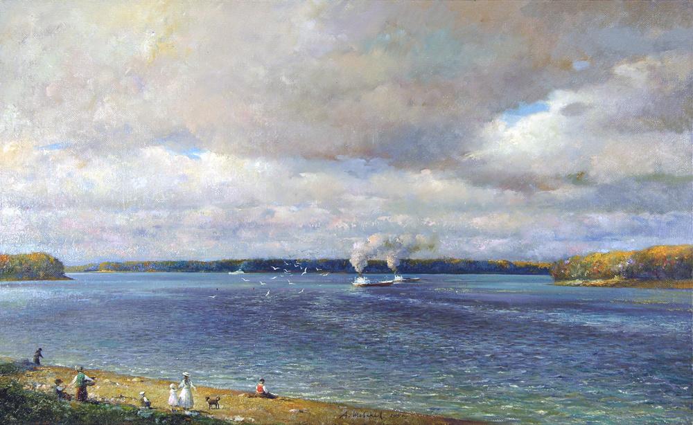 Alexander Victorovich Shevelyov. Volga in Rybinsk. oil on canvas.55,8 # 89,8 cm 2005