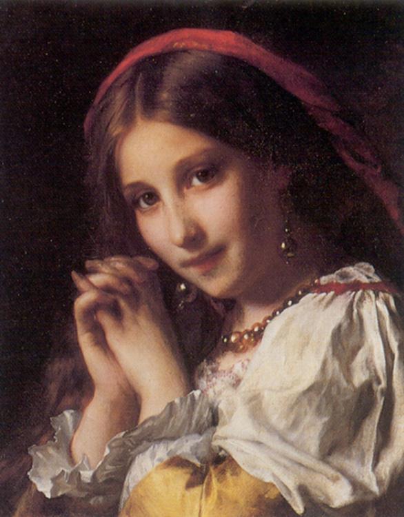 Этьен Адольф Пиот. Портрет девушки с красной шалью