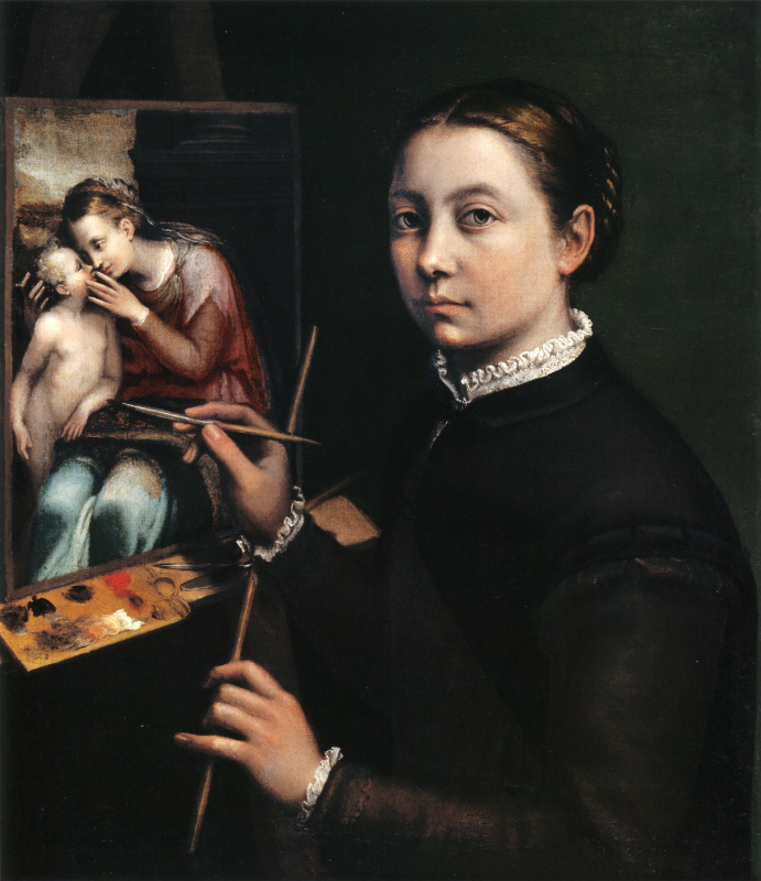 Sofonisba Angisola. Self-portrait near the easel
