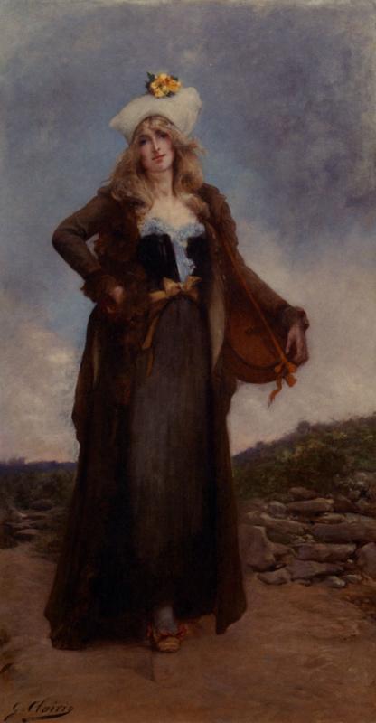 Жорж Жюль Виктор Клаирин. Дама в белой шляпе с цветком