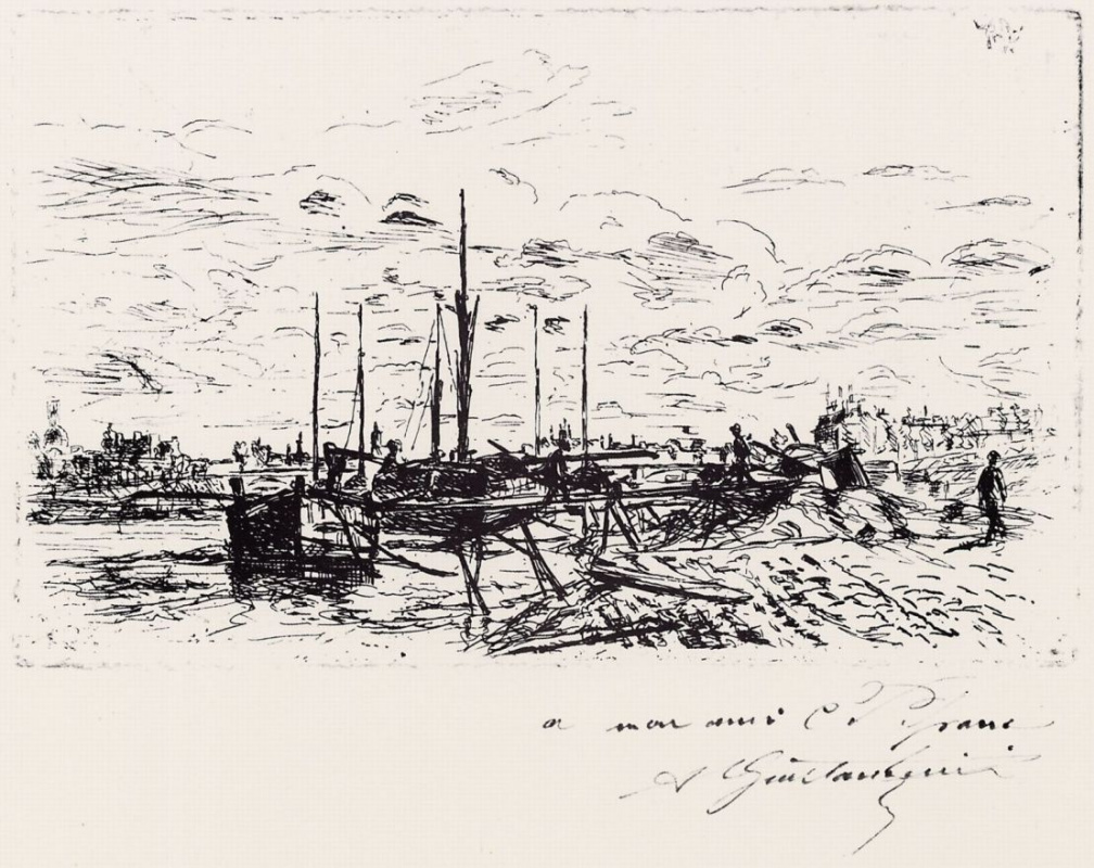 Арман Гийомен. Парусные лодки на реке под Берси