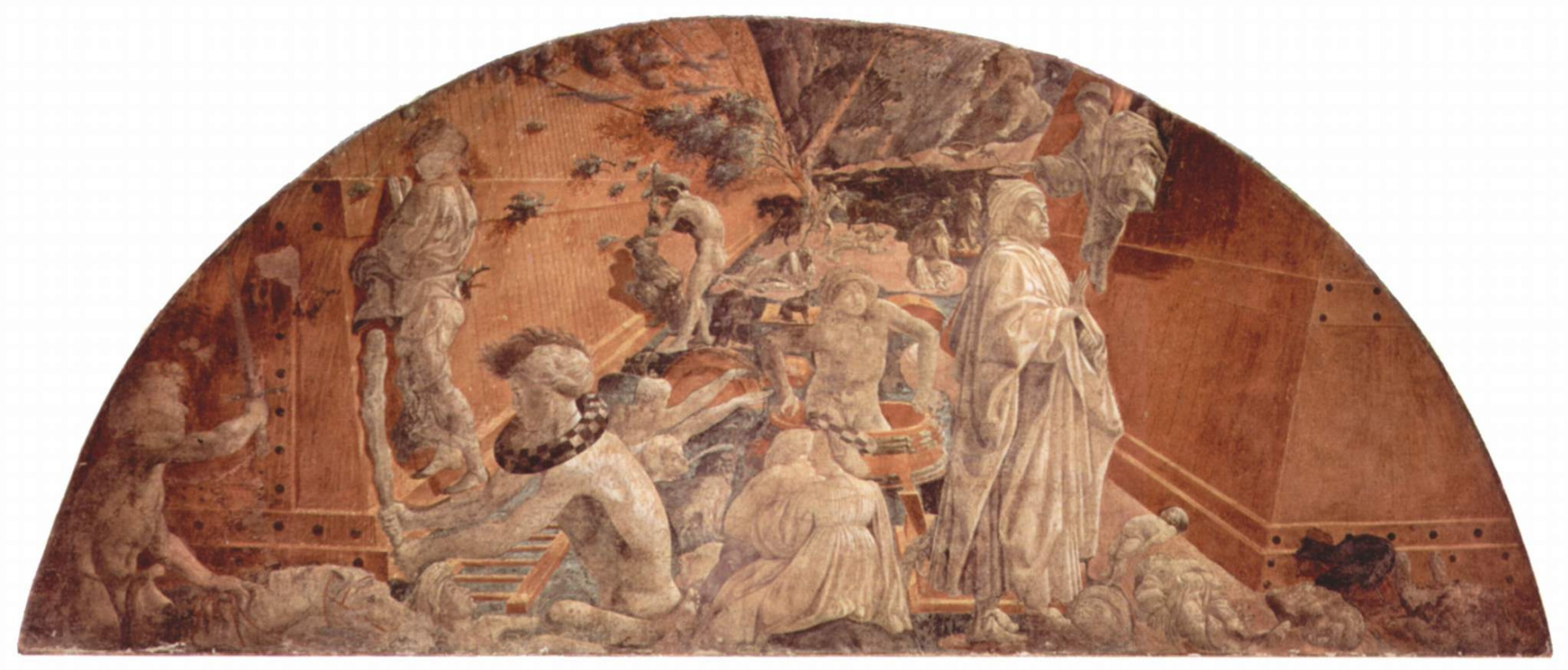 Paolo Uccello. The cycle of frescoes on the theme of the old Testament in a cloister of Santa Maria Novella in Florence scene bezel: Flood and the Ark