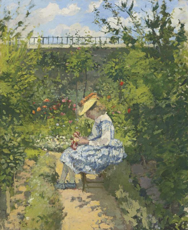 Камиль Писсарро. Жанна Писсарро читает в саду, Понтуаз