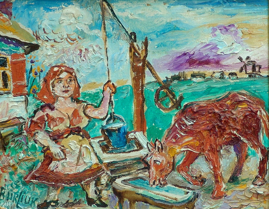 Давид Давидович Бурлюк. Женщина с коровой