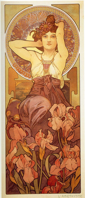 Alfons Mucha. Amethyst. A series of gems